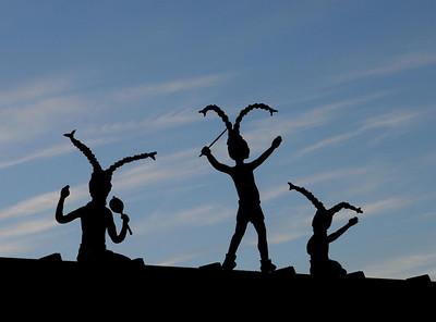 Metal sculpture on top of gas station in Sedona, Arizona